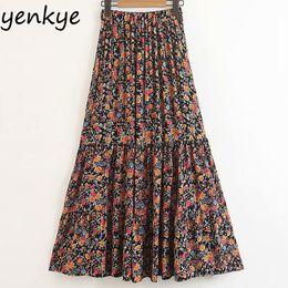 9a0f93cdc8 Sweet Floral Printed Boho Skirts Womens Elastic High Waist Casual Long Skirt  Lady Summer Holiday Beach Skirt SDP8521
