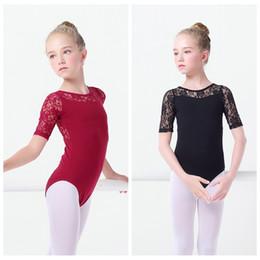 gymnastic clothes 2019 - Black Lace Ballet Leotards Girls Kids Vest Ballet Clothing Dancewear Children Gymnastics Leotards cheap gymnastic clothe