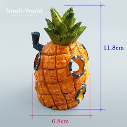 AquArium toys online shopping - New Design Resin Craft Pineapple House Building Figure Toys Home Fish Tank Aquarium Decoration Accessories Fairy Garden Ornaments