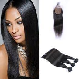 $enCountryForm.capitalKeyWord NZ - Straight Silk Base Closure with 3 Bundles Human Virgin Hair Malaysian Hair No Shedding No Tangle Hair FDSHINE