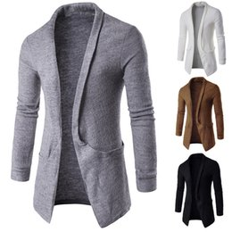 Open Clothes Canada - Men's Cardigan Long Sleeve Lapel Neck Sweater Open Stitch Fashion Autumn Winter Solid Outwear Jackets Coats Classic Men Clothes