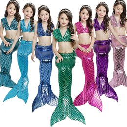$enCountryForm.capitalKeyWord NZ - Mermaid Girls' 3pcs Brief Fish Tail Swimsuit Beach Bathing Suit Bikini Cartoon 6 Colors Swim Kids Clothing Support FBA Drop Shipping G535F