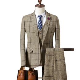 Men S Long Wedding Suit Australia - Plaid Men's Long Sleeve Suit Jackets + Pants + Vests Size S-3XL Blue Grey Khaki Fashion Business Wedding Banquet Men Dress Suits