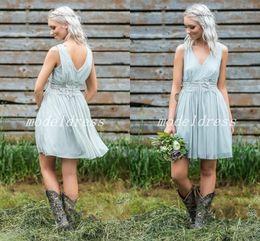 Monarch wedding dresses online shopping - 2018 Short Country Bridesmaid Dresses V Neck Appliques Sash Mini Garden Beach Wedding Guest Gowns Maid Of Honor vestidos de dama de honor