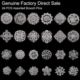 Wholesale 24 pieces Mixed Crystal Rhinestones Flower Brooches for Wedding Invitation Cake Decoration Bouquet Kit Brooch Pins