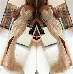 Sweetheart Beaded Evening Tulle Champagne Australia - 2019 New Sexy Prom Dresses Sweetheart Champagne Mermaid Tulle Crystal Beaded Long Split Plus Size Custom Party Dress Formal Evening Gowns