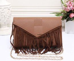 dress size small free shipping NZ - fashion women's tassel clutch bag pu leather lady hot selling chains shoulder bags totes messenger bag purse size 24x6x16cm free shipping