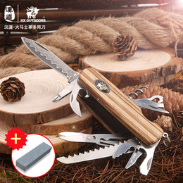 $enCountryForm.capitalKeyWord Australia - HX OUTDOORS Guardian Damascus Field Surge Army Knife Multi-Function Wooden Handle Multi-Folding Knife Outdoor Self-defense Tool