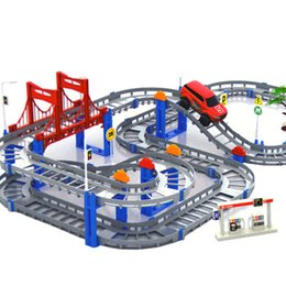 China toy hooks Kids Multilayer Electric Rail Car Construction Vehicles Toy Assembled Puzzle Train Track Building Blocks Educational Toys Gift cheap block toys vehicles suppliers