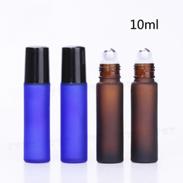 Discount frosted roller bottle - Wholesale Roller Ball Bottles Frosted Blue  Brown Essential Oil 10ml Empty Roll On Bottle With Plastic Cap