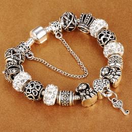 $enCountryForm.capitalKeyWord Australia - HOMOD Authentic Silver Plated Trendy 925 Crown Beads Key Crystal Heart Charm Bracelet Fits Brand Bracelet For Women DIY Jewelry
