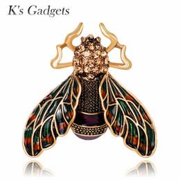 $enCountryForm.capitalKeyWord NZ - K's Gadgets Rhinestone Alloy Gold Color Cicada Brooches For Women And Men Crystal Enamel Brooch Pins Enamel Jewelry