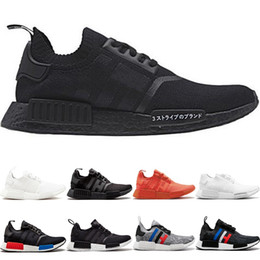61624c4e59827 NMD R1 Primeknit Running Shoes Men Women Triple Black White OG Classic Tri- Color Grey Oreo Japan Red Casual Sports Sneakers Size 36-45