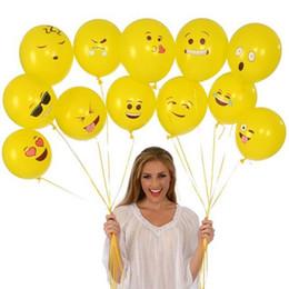 Discount smiley balloons Emoji Balloons Smiley Face Expression Yellow Latex Balloons Party Wedding Decoration Ballon Cartoon Inflatable Balls