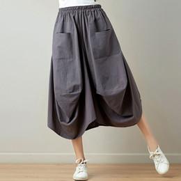 $enCountryForm.capitalKeyWord Canada - Summer Women's Skirt Plus Size Vintage Cotton Linen Casual Skirts Lady's Lantern Skirt 6 Colors C3417