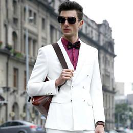 $enCountryForm.capitalKeyWord Canada - White Men Suits for Wedding Groom Tuxedos Slim Fit Best Man Blazers 3 Pieces Double Breasted Jacket Pants Vest Groomsmen Wear Peaked Lapel