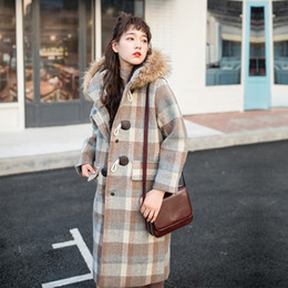 Heavy hair female lead grid cloth coat in the fall and winter of 2018 in the new long han edition loose horn coat
