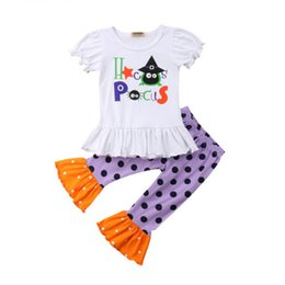 afbe4106278cc New Halloween 2Pcs Toddler Baby Girls Letter T-shirt Tops+Polka Dot  Bell-bottomed Pants Fashion Kids Outfits Set