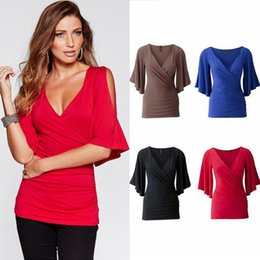 aedb272ef1c2a White silk tops short sleeves online shopping - European American Women s  Solid Color Sexy Deep