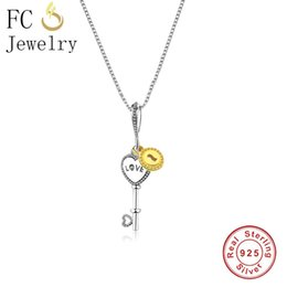 $enCountryForm.capitalKeyWord NZ - FC Jewelry 925 Sterlings Silver Rose Gold Letter Happy Pendant Women Girl Men Chain Statement Necklaces Lover Trinket Fashion