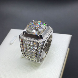 Discount mexican wedding rings - Stunning New Arrival Fashion Luxury Jewelry 925 Sterling Silver White Sapphire Round Cut CZ Zirconia Party Women Wedding