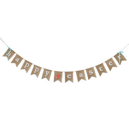 Wholesale 3 Meters HAPPY EASTER and Bunny Print Burlap Banner Bunting Garland Banners for Easter Birthday Party Supplier