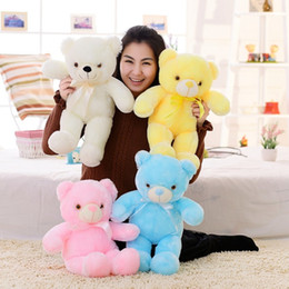 Discount teddy bear christmas gift girlfriend - Huge size 75cm Creative Colorful Glowing LED Teddy Bear Plush Doll Luminous Brinquedo Christmas Gifts for Girlfriend and