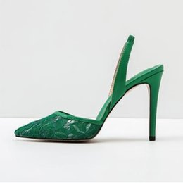 Sexy Pointed Toe Lace High Heel Pumps Green Mesh Slingback Sandals For Women  2018 Spring Autumn Dress Shoes Big Size 12 Free Ship 9a9d0fb8130a