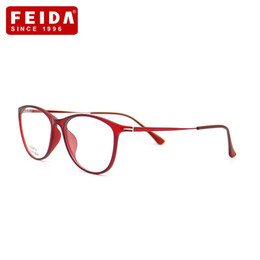 Discount spectacle frames for ladies - FEIDA Decoration cat eye glasses frame Women fashion TR90 eyeswear spectacle Optics red glasses frame for lady YX0267-2