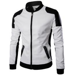 Discount asian winter coats - Mens Designer Jacket Winter Male Panelled Faux Leather PU Leather Coat Men Waterproof Jacket Asian Size M-5XL