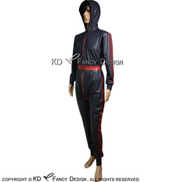 Green Sexy Body Suit Australia - Black With Red Sexy Latex Catsuit With Hoodies Belt Stripes At Sides Zipper Rubber Bodysuit Zentai Overall Body Suit LTY-0215