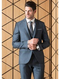 Dark Burgundy Suit For Men Canada - 2018 New Dark Gray Custom Made Men Suits For Wedding Slim Fit Groomsmen Tuxedos Three Pieces One Button Business Suit (Jacket+Pants+Vest)