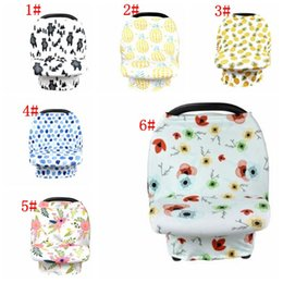 Scarf ShopS online shopping - Baby Car Seat Cover Canopy Pineapple Nursing Cover Flower Stretchy Infinity Scarf Breastfeeding Shopping Cart Cover KKA5126