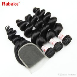 Discount bundle weave silk top closure - Loose Wave Remy Human Hair Bundles with Silk Base Closure Rabake Cuticle Aligned Hair Weave Extensions 4x4 Swiss Top Lac