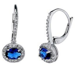 Großhandel 3A Zirkonia Clip auf Designs Bilder Edelstein blaue Ohrringe guten Preis Großhandel Messing Schmuck für Frauen