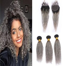 dark grey hair dye Canada - Ombre Brazilian Kinky Curly Hair Bundles with Lace Closure Dark Roots Gray Ombre Virgin Hair and Closure Two Tone 1B Grey Color