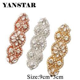 YANSTAR (2 pcs) À La Main De Mariée DIY Rose Or Cristal Strass Appliques Patch Pour La Robe De Mariée Sash Accessoire YS853