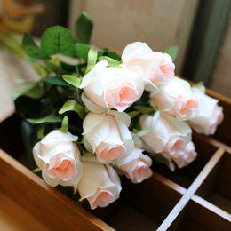 Discount quality fake plants - 10pcs  Lot High Quality Vivid Rose Artificial Flowers Desktop Silk Flower Simulation Fake Plant Wedding Houseware Home D