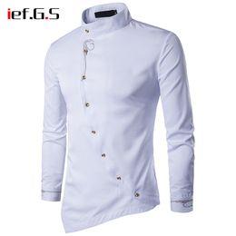 Wholesale oblique button shirt resale online – IEF G S Men s Shirt Oblique Button Long Sleeve Retro Tuxedo Shirt Men Overshirt Male Dress Golden Silk Embroidery Slim Fit