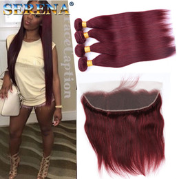 Wholesale Burgundy x4 Lace Frontal Closure With Bundles J Wine Red Straight Brazilian Virgin Human Hair Weaves With Ear to Ear Lace Band Frontals