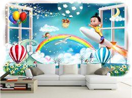 Wood Kids Kitchen Australia - 3d wallpaper on a wall custom photo mural Cartoon balloon rainbow kids room Home decoration 3d wall murals wallpaper for walls 3 d