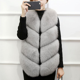 pink fox coat 2019 - Warm Faxu Fur Coat 2018 Winter Coat Women Fake Fox Fur Vest Sleeveless Female Jacket Luxury Women Vests Gilet abrigo muj