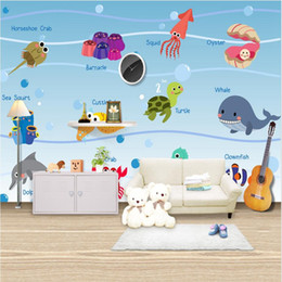 fiber walls NZ - Cartoon animal world map wallpaper children room boys and girls bedroom wallpaper mural mural wall covering kindergarten enlightenment educa