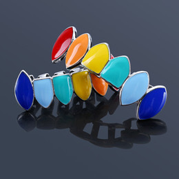 $enCountryForm.capitalKeyWord NZ - Rainbow Teeth Grillz Top&Bottom Colorful Grills Dental Halloween Vampire Teeth Hip Hop Halloween Party Body Jewelry