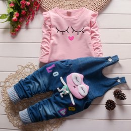 $enCountryForm.capitalKeyWord Canada - Kids Clothes Girls Set 2016 Toddler Autumn Kids Character T-shirt & Denim Overalls Girl Clothing Suits Clothes for Cheap Prices