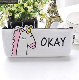 Animal Stationery Pencil Case NZ - Animal Pencil Case Canvas Unicorn School Supplies Stationery Gift Students Cute Pencil Box Pencilcase Pencil Bag School Tool