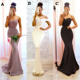 Wholesale Sexy Slim Fitted Lace Top Mermaid Evening Dresses Spaghetti Straps Long Sweep Train Applique Prom Gowns Under