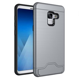 cell phone kickstand Canada - For samsung A8 2018 TPU+PC extreme Shockproof protect credit card slot cell phone case cover for Samsung A8 plus 2018 with kickstand