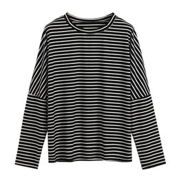 China Feitong 2018 New Arrival Clothing Womens Plus Size Splice Stripe Print T-Shirt Oneckline Tops Casual high Quality Elegant Women cheap quality womens size clothing suppliers