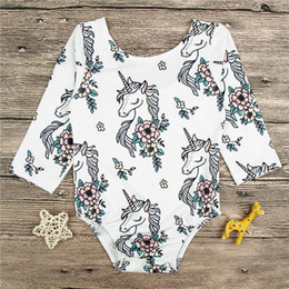 Discount fashioned baby clothes - INS Baby Unicorn Romper Kids Long Sleeves Printed Flowers Spring Autumn New Fashion Floral Print Jumpsuits Baby Clothing